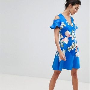 Ted Baker ambre blue cold shoulder floral dress